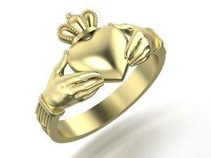 3D claddagh ring number model