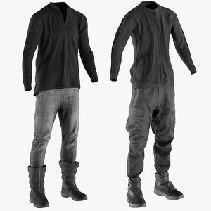 3D model realistic clothing pants boots