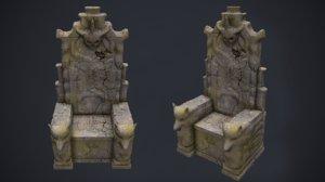 3D model stone throne wolf -
