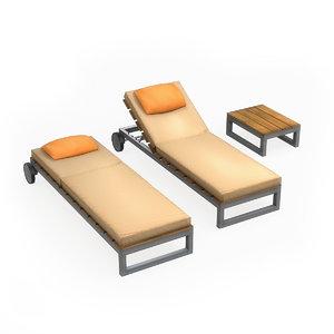 3D model outdoor sun lounge
