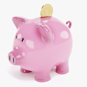 3D piggy bank coin model