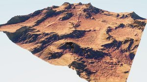 3D martian rocky area blender model