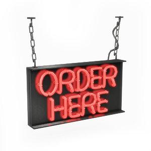 3D model order neon sign