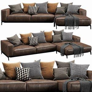 flexform ettore chaise lounge 3D model