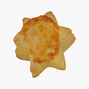 3D model cheese puff pastry star