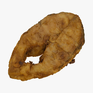 fried carp fillet 01 3D model