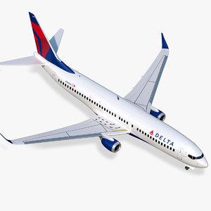 3D model boeing 737-800 delta air lines