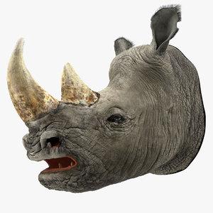 adult rhino head fur 3D model