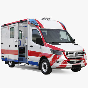 3D ambulance vehicle rigged