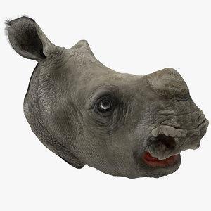 baby rhino head fur model