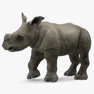 3D rhino baby standing pose