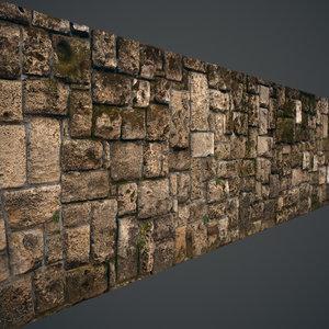 Mossy stone block wall