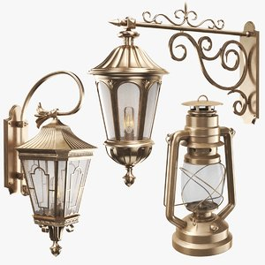 real wall lights lantern 3D