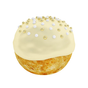 3D model puff golden frosting