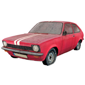 3D scanned old red car