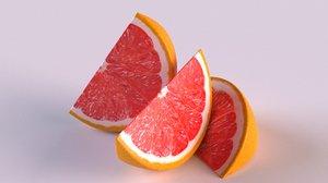 citrus grapefruit fruit slices 3D model