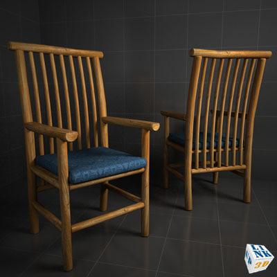 wood chair adirondack 3d model