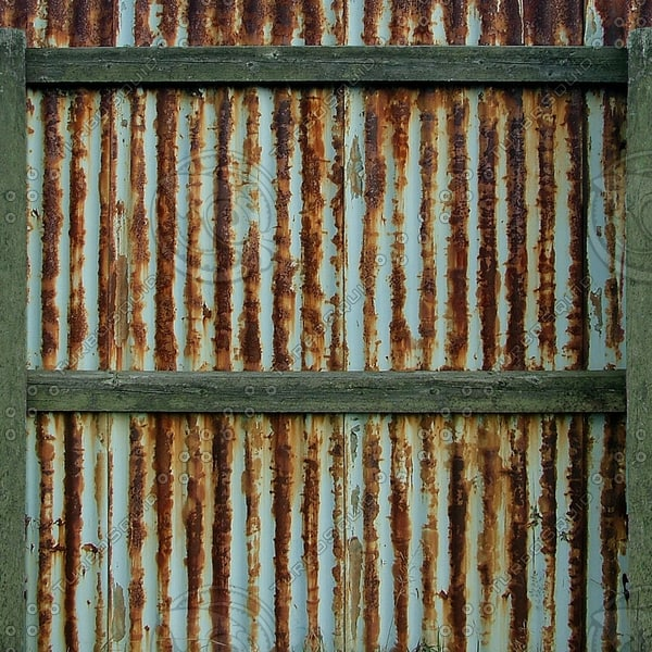 F007 corrugated metal fence texture