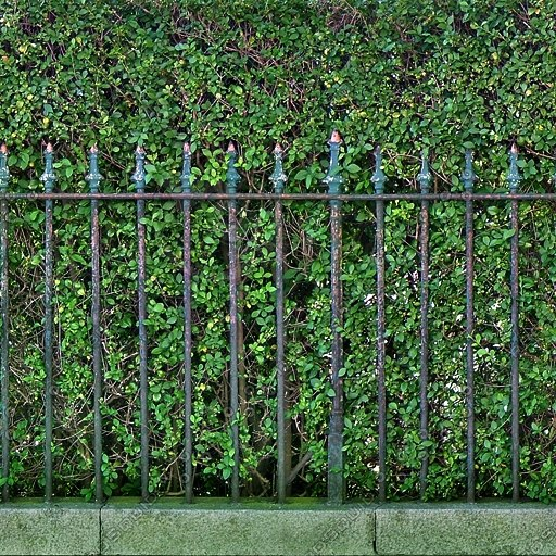 F002 fence hedge metal railing