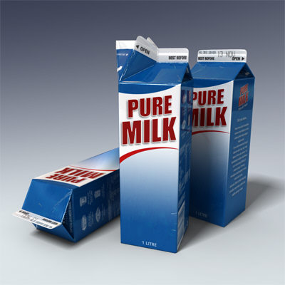 litre milk carton 3d model