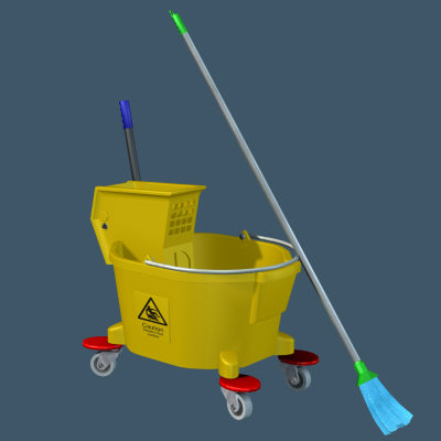 cleaning bucket mop 3d model