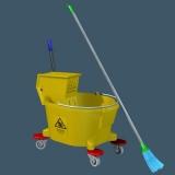 cleaning bucket mop 3d model