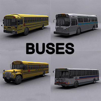 ready bus buses 3d model