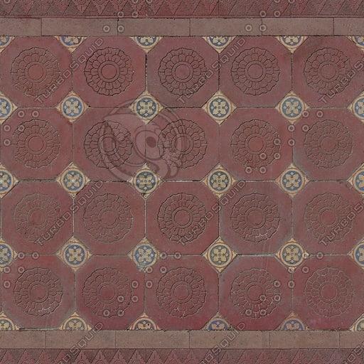 FL007 floral floor tiles texture 512