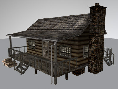 log cabin 3d obj