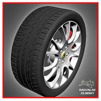 3d car wheel pirelli zero model
