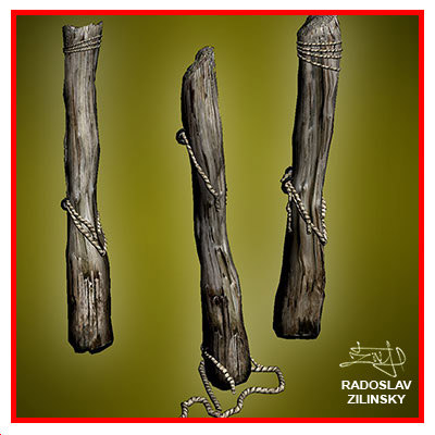 wooden pile trunk prisoners 3d max