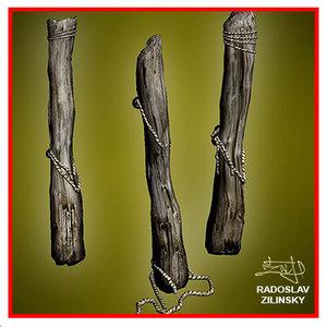 wooden pile trunk prisoners 3d max