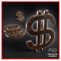 dollar sign resolution 3d model