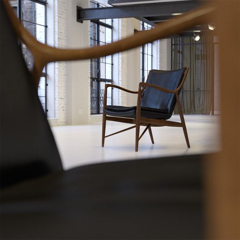 3d finn juhl 45 armchair model