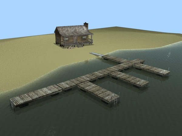 log cabin dock combo 3d obj