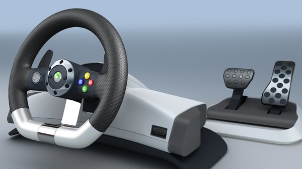 3d model microsoft xbox 360 racing wheel