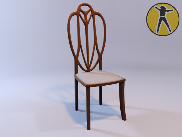chair art nouveau 3d model