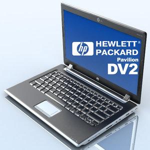 notebook hp pavilion dv2 3d model