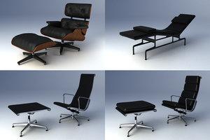 3d eames lounge chair charles