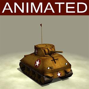 tank cartoon 3d model