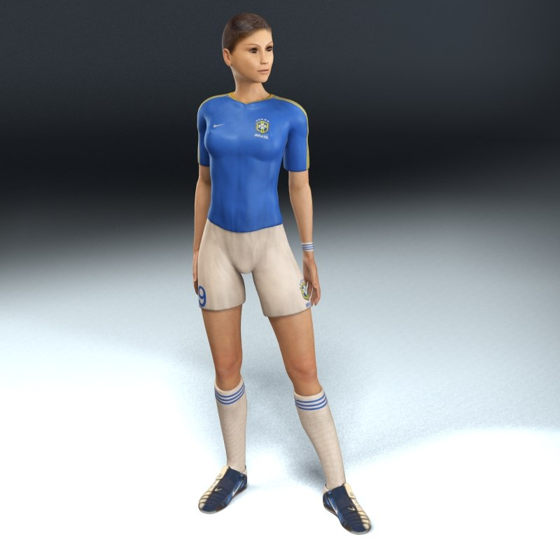 female football player rigged 3d model