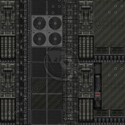 SF075 sci-fi metal spaceship interior wall