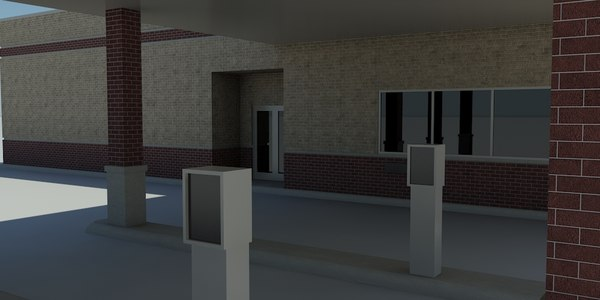 Bank 1 - Drive-Thru Bank Model - 3DS MAX 2010 - Mental Ray