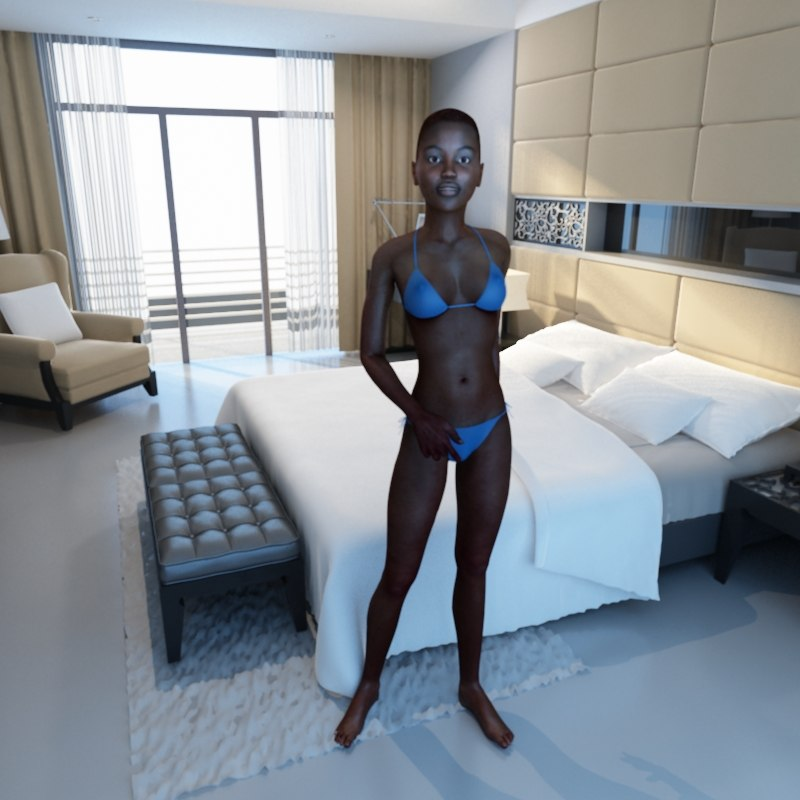 rigged female 3d model