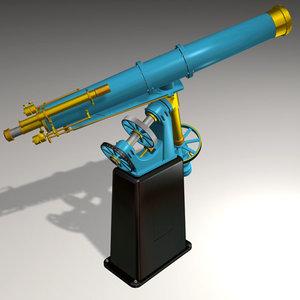 3d antique telescope alvan clark model